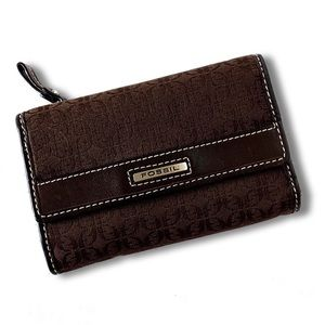 Fossil • Brown Genuine Leather Tri Fold Wallet